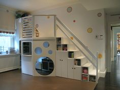 SAM & BEN • DESIGN & BUILD: kids environments  Staircase as storage, loft space and cubby room. fun!