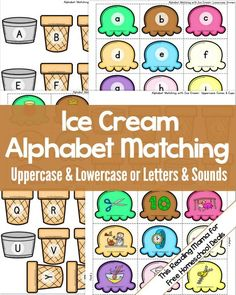 Beginning Sound Kindergarten Activity: Ice Cream Alphabet Matching for Uppercase-Lowercase or Letters-Sounds - This Reading Mama for Free Homeschool Deals Kindergarten Literacy, Preschool Learning, Preschool Activities, Kindergarten Alphabet Worksheets, Letter Recognition Kindergarten, Letter Recognition Games, Letter Sorting, Letter Tracing, Early Literacy