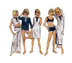 "Women's Beachwear Sewing Pattern Bikini Bathing Suit Cover Up Crop Top Beach Dress Summer 0s Size16 Bust 36"" (92 cm) Butterick 3546 S"