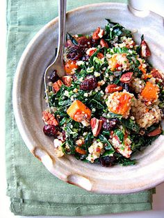 The Bojon Gourmet's Quinoa, Kale and Sweet Potato Salad: a nutrient-packed salad with multi-color quinoa, roasted sweet potatoes, pecans, dried cranberries, and wilted kale, flavored with cumin, lemon and parsley. Vegan and gluten-free