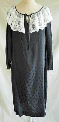 Hanae Mori Dress Plus Size Nos Deadstock  Vintage 70s Dotted Silk Lace Collar 14
