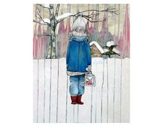Christmas card with winter girl in Finnish snowy landscape - art oil painting folded postcard - pop surrealism fairytale fantasy lowbrow #popsurrealism #bigeyedgirl