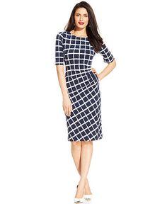 Connected Windowpane-Print Ruched Sheath - Dresses - Women - Macy's