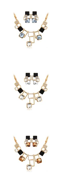 New fashion Jewelry sets Gold Rhinestone Crystal Acrylic Geometric Necklace Pendants Earring Jewellery Set For Women