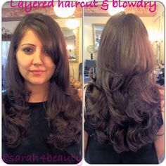 Layered haircut on fine hair and blowout