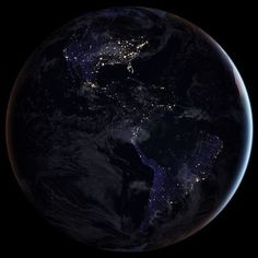 explorenasa Just in time for Earth Day, new full-hemisphere views of Earth at night. NASA scientists are releasing new global maps providing the clearest yet composite view of the patterns of human settlement across our planet. This composite image, one of three new full-hemisphere views, provides a view of the Americas at night. The clouds and sun glint — added here for aesthetic effect — are derived from MODIS instrument land surface and cloud cover products.  Credit: NASA Earth…