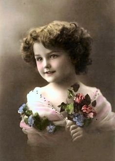 Child model vintage tinted photo postcard of girl holding flowers. Éphémères Vintage, Images Vintage, Vintage Ephemera, Vintage Girls, Vintage Pictures, Vintage Beauty, Old Pictures, Vintage Postcards, Vintage Prints