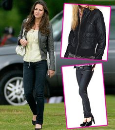 Get Kate Middleton's Style: Black Leather Jacket & Skinny Jeans