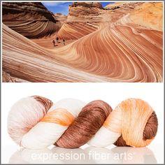Expression Fiber Arts, Inc. - DESERT SANDSTONE SUPERWASH MERINO SILK PEARLESCENT FINGERING YARN, $30.00 (http://www.expressionfiberarts.com/products/desert-sandstone-superwash-merino-silk-pearlescent-fingering.html)