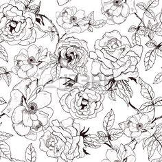 Abstrakt nahtlose Muster mit Hand Zeichnung isoliert wei en Rosen Vektor Illustration Lizenzfreie Bilder