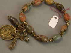 Rosary Bracelet Victorian Style Picture Jasper by KimMariaDesigns, $30.00