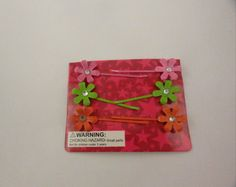 Colored Bobby Pins with flower Set   Faux rhinestones. $8.00, via Etsy.