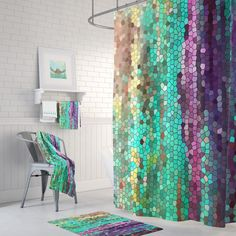 Teal and Purple Mosaic Shower Curtain Set - Morning Has Broken Abstract colorful shower curtain, shower set, extended sizes Shower Mold, Shower Set, White Shower, Shower Liner, Colorful Shower Curtain, Shower Curtain Sets, Shower Curtains, Mermaid Shower Curtain, Plywood Furniture