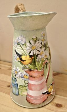 This appears to have depth to it as if it was painted on a base of spackling or joint compound. Lace Painting, Bottle Painting, Painting On Wood, Painted Milk Cans, Painted Pots, Flower Pot Crafts, Flower Pots, Diy And Crafts, Arts And Crafts