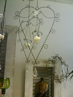 Hanging Wire Hearts With Candles I think these would look good in a bathroom..have them lit while soaking in the tub!