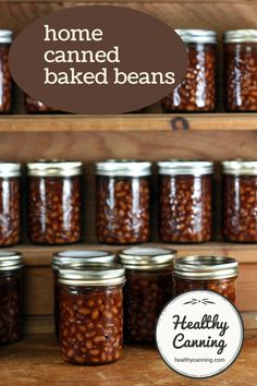 Home canned baked beans. Delicious home-canned baked beans. Pennies a jar.  You can make sugar-free. #canning