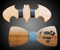 Batman v. Superman Wooden Bow Ties | DudeIWantThat.com #woodworkingprojects