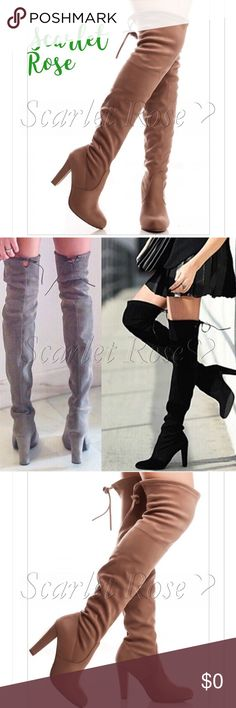 🌹Taupe/Tan Soft Faux Suede Over the Knee Boots🌹 Boot season is here, and these Taupe/Tan Soft, Faux Suede Over the Knee Boots are here! I have a pair from this same wholesaler, and I absolutely LOVE them! They are ultra-soft, comfortable, stylish, and HOT!! PLEASE NOTE - These are pull on style, no zipper, but tie in the back. These do fit true to size, but if you want to wear them with thick socks or over jeans, I'd size up by a half size or so. Price is firm unless bundled. More sizes…