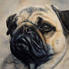 A+Prettier+Pug+-+dog+oil+painting,+painting+by+artist+Anne+Zoutsos