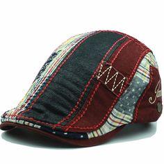 Men Cotton Washed Beret Hat Buckle Adjustable Paper Boy Newsboy Cabbie Golf Gentleman Cap