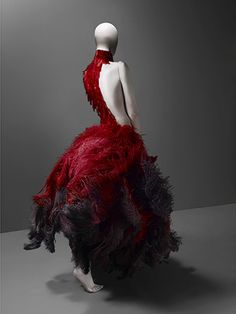 spring/summer 2001  Red and black ostrich feathers and glass medical slides painted red  Courtesy of Alexander McQueen