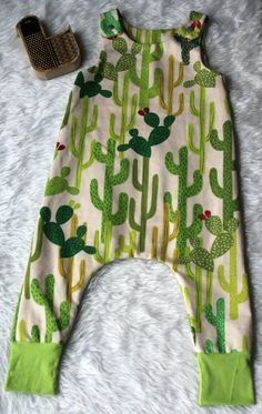 Baby cactus flannel harem romper by freshlyhatchedthread on Etsy