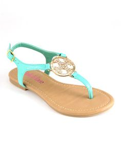 Look what I found on #zulily! Bella Marie Teal Medallion Sandal by Bella Marie #zulilyfinds
