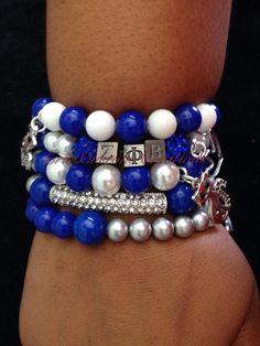 5 strand Zeta Phi Beta bracelet set by CrisCustomCreations on Etsy, $45.00