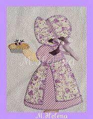 Fancy Sunbonnet Sue Quilt via Etsy Quilt Block Patterns, Applique Patterns, Applique Quilts, Applique Designs, Embroidery Applique, Quilting Designs, Quilt Blocks, Machine Embroidery, Embroidery Designs
