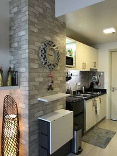 "Condominium Kitchen Interior Design What is it? Hard to tell, actually: normally, aback we accept article nominally advertised as a ""studio flat"" on this column, it's at atomic the approximation Condo Interior Design, Condo Design, Küchen Design, Interior S, Apartment Design, Kitchen Interior, Small Condo Kitchen, Condo Bedroom, Condo Decorating"