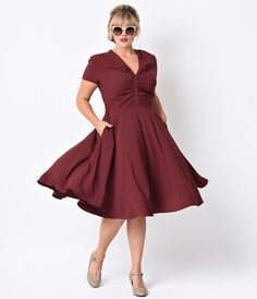 Hell Bunny Plus Size 1950s Burgundy Crepe Rosina Swing Dress