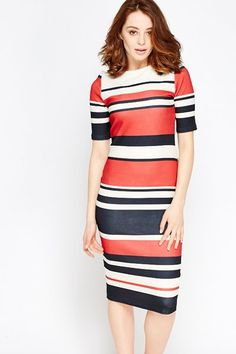 Red Multi Stripe Midi Dress for £5 @ Everything5pounds.com