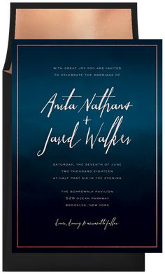 Navy and Rose Gold Wedding Invitations | Dark Ombre Watercolor by Signature Greenvelope | Greenvelope.com