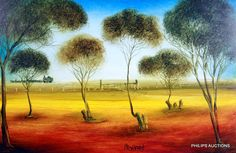 Song of Old Joe Swallow oil painting by Pro Hart. Signed by artist. Australian Painting, Australian Artists, Landscape Art, Landscape Paintings, Landscapes, Asian Artwork, British Schools, Aboriginal Painting, Famous Artwork
