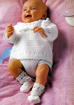 CROCHET PATTERN - Baby's set - Pure White - Sweater, Pant and Bootees PDF on Etsy, $1.85