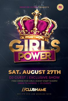 Girls Power Flyer Templates is perfect template Psd for any club party, ladies night, night club event, Girls power event ! + Girls Flyers on Creativeflyers Event Poster Design, Typography Poster Design, Graphic Design Posters, Flyer Design, Ladies Night, Girls Night, Celebration Background, Christmas Flyer, Psd Flyer Templates