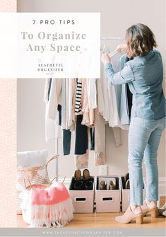 """Once you've narrowed down your inventory, make a game plan for how you'll set up your space. Choosing the right organization solutions can be a game changer— they'll maximize the space you have and give each item a """"home."""" Be sure to measure your space (it doesn't hurt to do this twice!) and choose an aesthetic that matches your home. The Container Store is an excellent resource for finding all kinds of products and solutions! #linenstoragebin #professionalorganizer #capsulecollection Wardrobe Organisation, Linen Closet Organization, Closet Storage, Organization Hacks, Beautiful Closets, Make A Game, Small Space Solutions, Container Store, Tidy Up"""