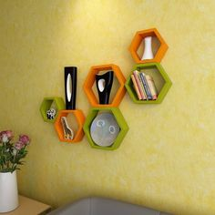 Desi Karigar Wall Mount Shelves Hexagon Shape Set of 6 Wall Shelves - Green…
