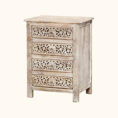 We were inspired by the beauty of new snow and created our Winter Snow Garden 4-Drawer Nightstand.  This handmade solid hardwood mini chest of drawers stands off the floor. The drawer fronts feature a delicate lace design and frosted ring pulls. The end table top extends slightly beyond the frame.