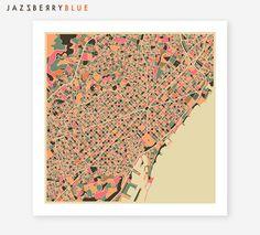 BARCELONA Map, Giclee Fine Art Print, Wall Art, Home Decor by Modern Artist Jazzberry Blue