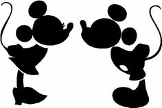 Mickey and Minnie kissing silhouette