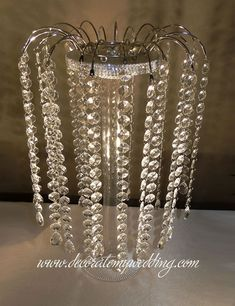Centerpiece with Hanging Crystals Wedding Table Centerpieces, Wedding Flower Arrangements, Flower Centerpieces, Bling Centerpiece, Crystal Centerpieces, Wedding Decorations, Floral Wedding, Wedding Flowers, Red Wedding