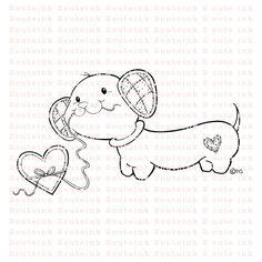 Diese digitalen Stempel ist eine süße Dackel-Welpen liebt Herzen Bonbons!    Patches der Dackel ist meine ursprüngliche Abbildung.  .CoHeidi Arrowood 2