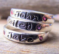 Mothers Ring Personalized Birthstone Stacking by HelenesDreams