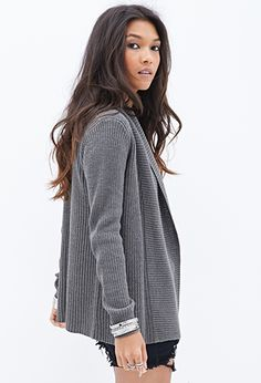 Ribbed Open-Front Cardigan | FOREVER21 - 2000060578