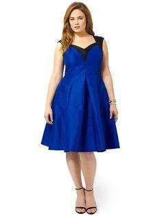 Plus Size CHERRY VELVET Dita Holiday Dress In Blue & Black