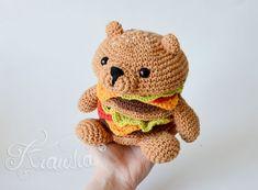 Crochet PATTERN No 1807 HamBEARger tasty food pattern by