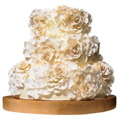 Brides: The Most Creative Wedding Cakes Of The Year | Three-Dimensional Floral Wedding Cake | Cake by Nine Cakes