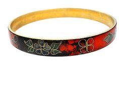 Vintage Red Blue Floral Cloisonne Enamel Bangle Bracelet