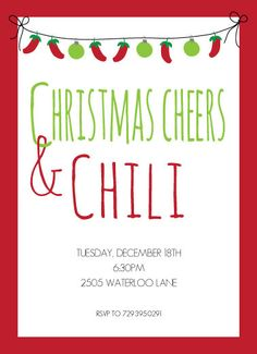 Cheers and Chili Party Invitation Mexican Christmas Chili Cookoff New Years Eve on Etsy, $18.00